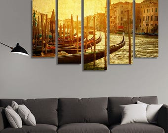 LARGE XL Art Venice, Italy Canvas Print Gondolas on Grand Canal, Italian Canal Grande Canvas Wall Art Print Home Decoration - Stretched