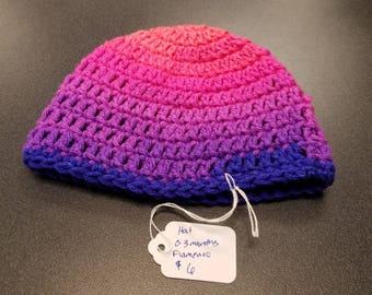 Hand Crocheted Beanie Hat 0-3 month Flamenco Stripe.