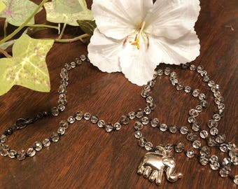 Crystal Beaded Necklace with Elephant Charm