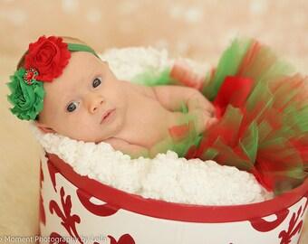 Baby's First Christmas-Red and Green Tutu and Matching Headband, Tutu Set, Baby Tutu, Infant Tutu, Toddler Tutu, Girls Tutu, Tutu Skirt