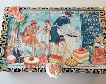 Boulangerie/Patisserie Menu Box Memory Box Jewelery Box Keepsake Box Altered Cigar Box Bakers Box Storage Box
