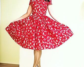 Pinup dress 'Cheongsam Xmas' Christmas dress with reindeer snow flake
