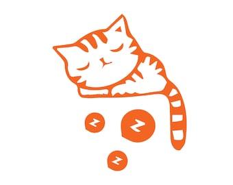 sleeping cat decal, cute cat car decal, cat vinyl decal, girly car sticker, yeti tumbler, feline, kitty, lazy cat, animal lover, rescue
