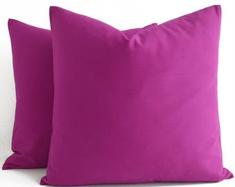 Cotton Purple Pink Pillow, Purple Pink Throw Pillow, Purple Pink Cushion, Decorative Pillow, Fuchsia Pillow Cover, Solid Plum Purple Pillows
