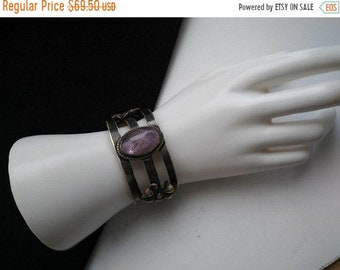 ON SALE Sterling Silver 925 Cuff Signed Bracelet Collectible 1960's 1970's Vintage Mexico Purple Stone Jewelry