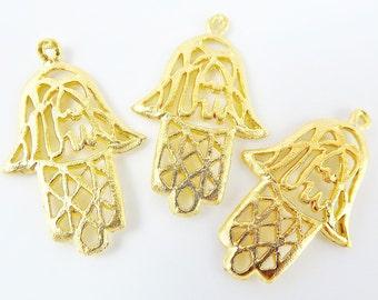 3 Rustic Fretwork Hand of Fatima Hamsa Pendant Charms - 22k Matte Gold Plated