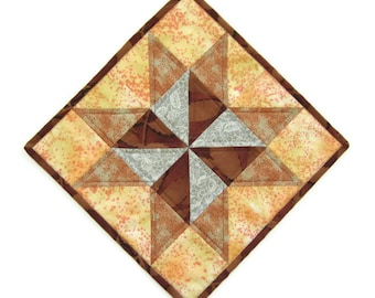 """Quilted Patchwork Table Topper """"Windmill"""" Mug Rug, Snack Mat, Doll House Rug, Square Quilted Tablemat, Desk Mat"""