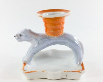 Orange and Gray Cat Candle Holder Made in Germany