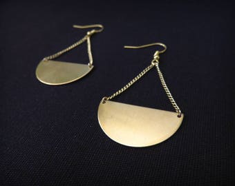 Earrings large half-moon brass