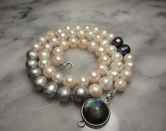 TOM K Collier pearl Necklace rosequartz switch it Collection Cabochon wedding Gold brides maid