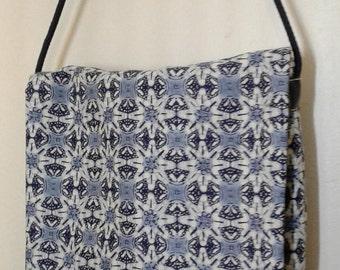 "Blue White Messenger Bag, 9""w x 8.5h, Crossbody Bag, Crossbody Purse, pocketbook, Bag,  Boho Messenger Bag, Shibori Messenger Bag, Crossbody"