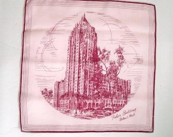 Vintage Handkerchief - Fisher Building - Detroit - Art Deco Architecture - Price Reduced