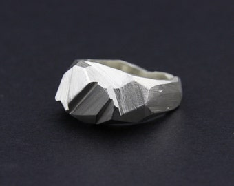 High Facet Ring: Sterling Silver Faceted Ring