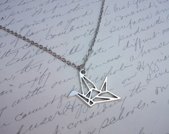Origami paper crane bird necklace
