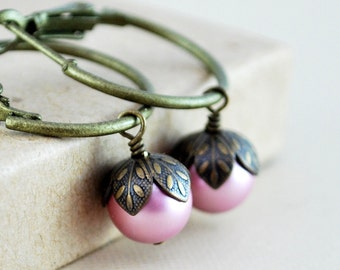 Pink Pearl Hoops, Swarovski Powder Rose, Wire Wrapped, Woodland Wedding, Antiqued Brass Jewelry