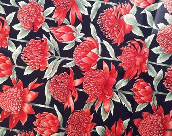 Waratah Flower Print cotton, red on black, Australia,  remnant piece only