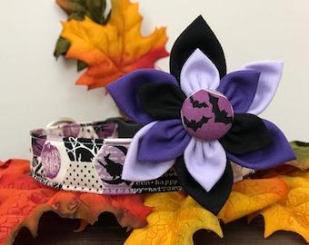 Dog collar, halloween dog collar, purple halloween dog collar, purple dog collar, ghost dog collar, flower , collar flower, dog flower