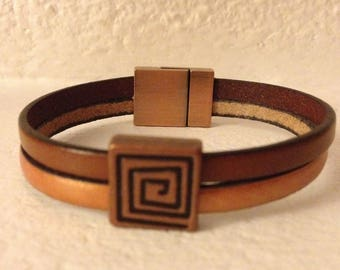 2 STRANDS LEATHER BRACELET BROWN AND OCHRE
