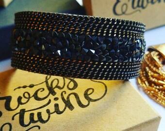 Black Cuff Bracelet / Magnetic Clasp / Boho Jewelry / Gemstone Chip / Chain
