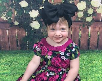 Black Knit Headwrap- Headwrap; Stretchy Headwrap; Baby Headband; Toddler Headband; Stretchy Head Wrap; Baby Headwrap; Toddler Headwrap