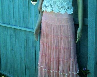 Vintage, Apricot, chiffon and lace skirt