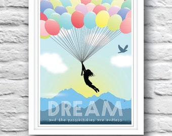 Quote print, Wall Decor, quote poster, Inspirational quote, Motivational print, wall quote, DREAM