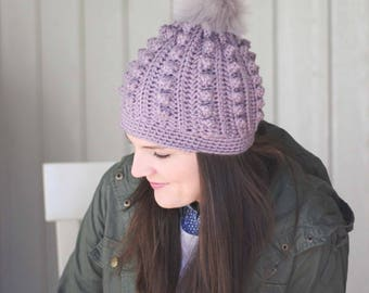 Bobble Beanie Crochet Pattern, Bobble Toboggan Crochet Pattern, Crochet Hat Pattern, Easy Crochet Hat Pattern