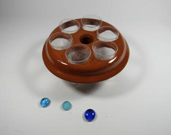 Glass color glazed terracotta natural support