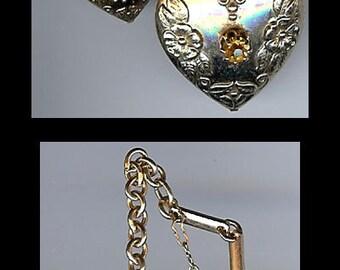 VINTAGE 1930's ornate gold tone rhinestone dangle hearts PENDANT or TRINKET