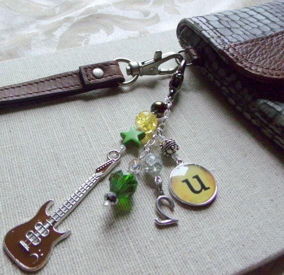 Guitar zipper pull - Rock band memento - Electric pick keepsake - green Key chain tour charm - U2 - Irish Tour - Journal - tote - Wristlet