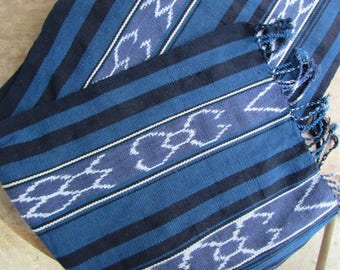 Guatemalan Hand Woven Textile in Shades of Indigo