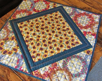 Autumn Quilted Table Topper; Quilted Table Runner; Fall Table Runner; Sunflower Runner