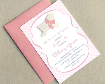 Lamb of God Invitations · PINK A6 FLAT · Pink and Cream Shimmer · Christening | Baptism | Dedication | First Holy Communion