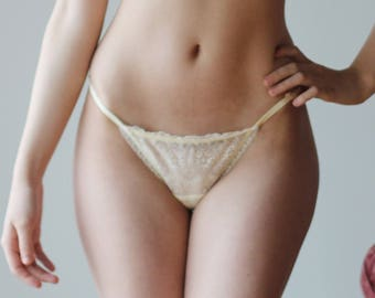 ivory lace panties with lace back - CUPID - womens sheer mesh lingerie range - made to order