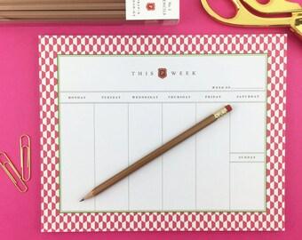 Graduation Gift / Weekly Notepad Planner / Weekly Planner / 2018 / Weekly Notepad / Notepad / Notepad Planner / Calendar Notepad / Hexagon
