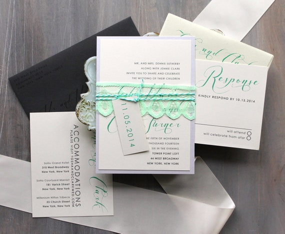 Elegant Script Wedding Invitations Mint Green and Gray