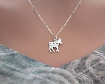 Sterling Silver Democratic Donkey Charm Necklace, Democrat Party Necklace, Silver Democrat Donkey Charm Necklace, Political Charm Necklace