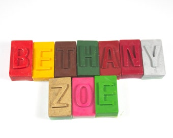 Letter Block Crayons - set of 10 - school supply, back to school, name, personalized crayons, letter crayons, party favor