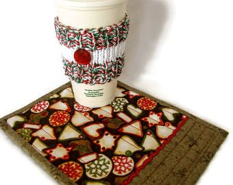 Holiday Day Mug Rug and Cup Cozy Set; Quilted Christmas Cookies Mug Rug and Knit Cup Cozy; Santa Snack Set; Work Station Snack Set; Desk Set