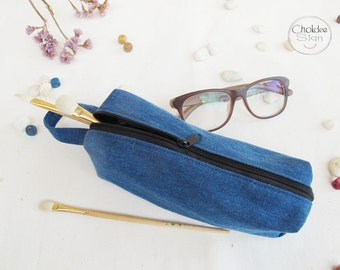 Jeans (denim) pencil case, light blue pencil case, Pencil Case, Zipper Pouch, Small Cosmetic Bag.