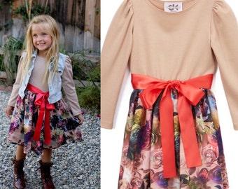 Dreaming Kids Khaki Floral Long Sleeve Dress - Infant, Toddler & Girls