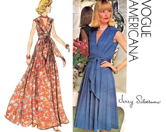 Vogue Americana 1116 Womens JERRY SILVERMAN Wrap Dress or Evening Maxi 70s Vintage Sewing Pattern Size 14 Bust 36 UNCUT Factory Folds