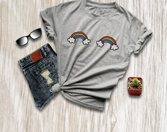 Boobies shirt rainbow shirt lgbt t shirt rainbow tee shirt tshirts womens tops tees t-shirts gift for her size XS S M L XL