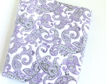 Paisley print in lavender, gray, and white on XL flannel baby girl blanket ..bedding...nursery..preppy...classic