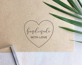Handmade With Love Stamp | Handmade Stamp - Heart Stamp - Packaging Stamp - Gift For Crafter