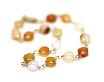 Red and Orange Agate Wire Wrapped Bracelet on Gold   Minimal Natural Gemstone Jewelry   Semiprecious stone   Handmade by Azki