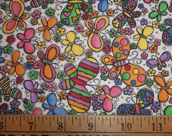 Bright Colorful Butterflies Butterfly Lisa Williams Flannel Fabric Rare OOP