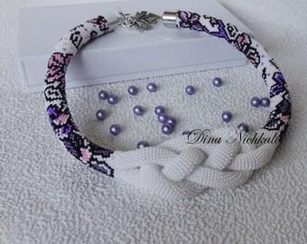 Beads Crochet Rope Necklace Beadwork Necklace Purple  Necklace Beaded Statement Necklace Modern Necklace Boho Jewelry Bohemian Necklace