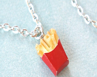 french fries necklace- fast food jewelry, miniature food jewelry