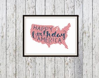 Happy Birthday America Digital Typography Print